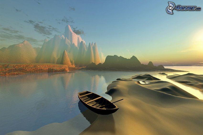 digitálna krajina, čln, pláž, kopce