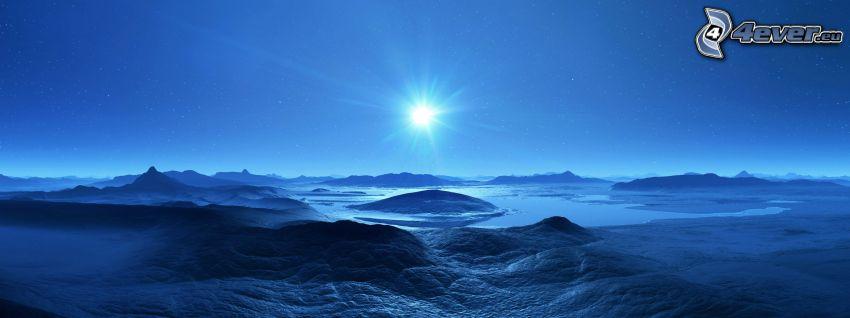 digitálna krajina, modrá, mesiac, hviezdy