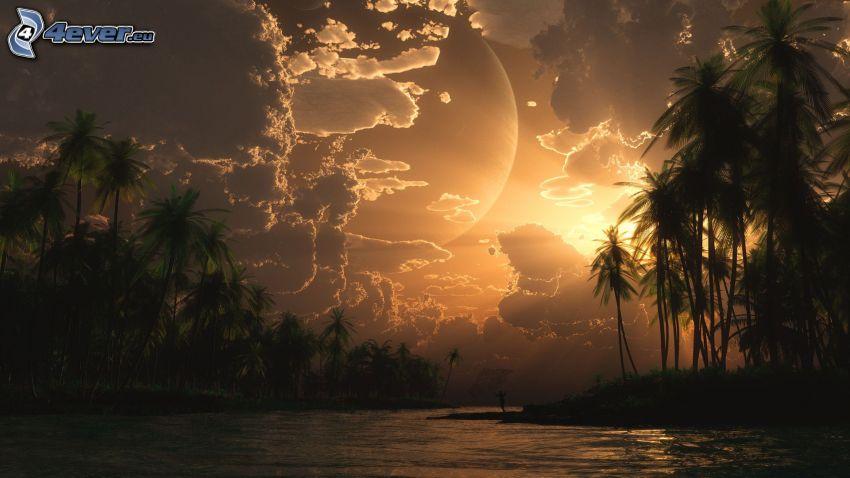 digitálna krajina, rieka, západ slnka, oblaky, palmy