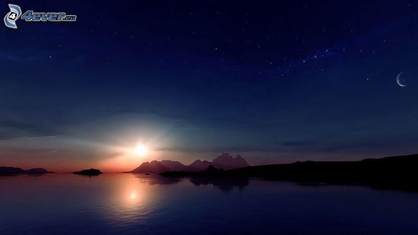 digitálna krajina, západ slnka, večerné more, pohorie