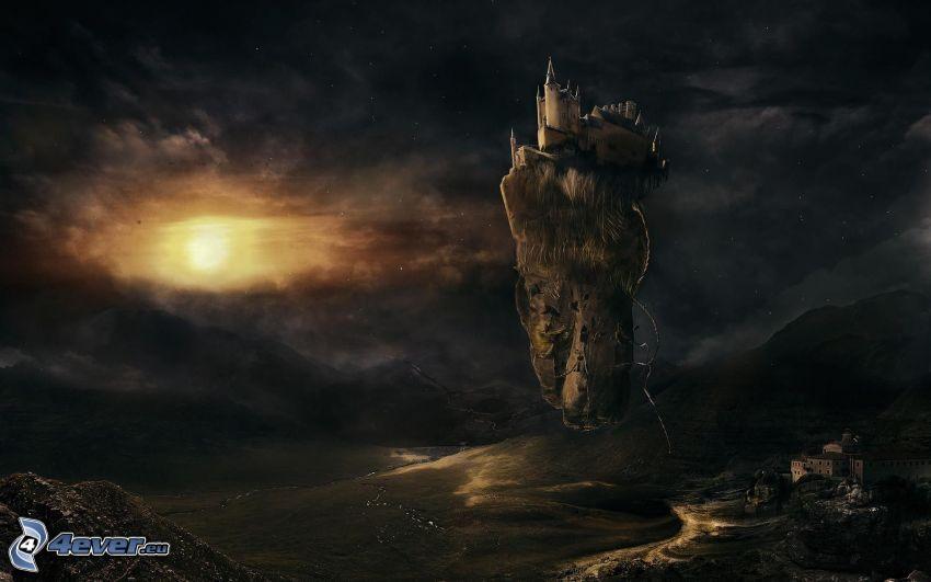 fantasy hrad, tmavé oblaky, slnko, lietajúci ostrov