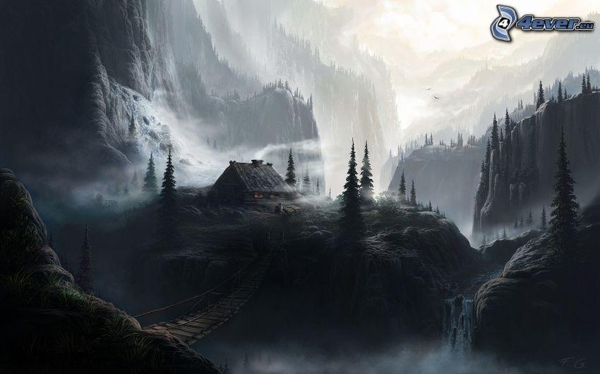 fantasy krajina, čiernobiela fotka, chalupa, most, skaly, stromy