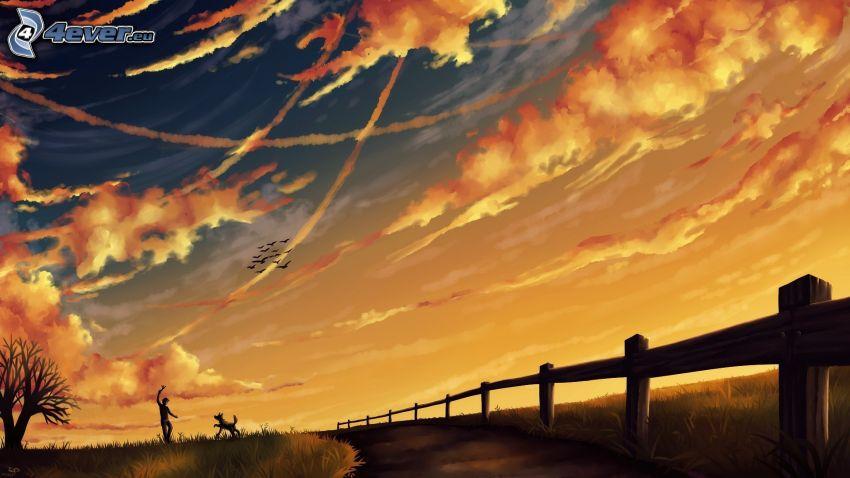 fantasy krajina, drevený plot, oranžové oblaky, cestička, muž so psom, siluety, kondenzačné stopy