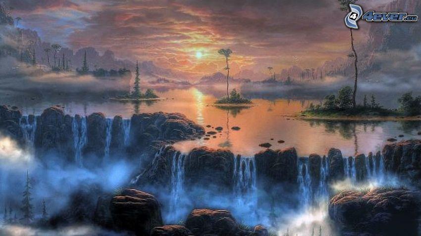 fantasy krajina, jazerá, vodopády, skalnaté hory, západ slnka nad horami