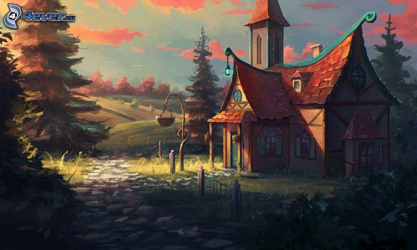 fantasy krajina, kreslený dom, cestička, oranžové oblaky, stromy