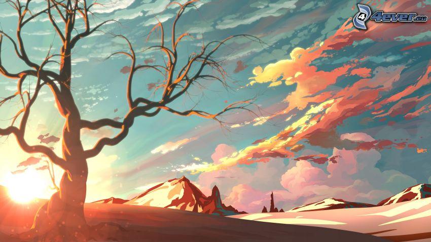 fantasy krajina, oranžové oblaky, skalnaté hory, suchý strom