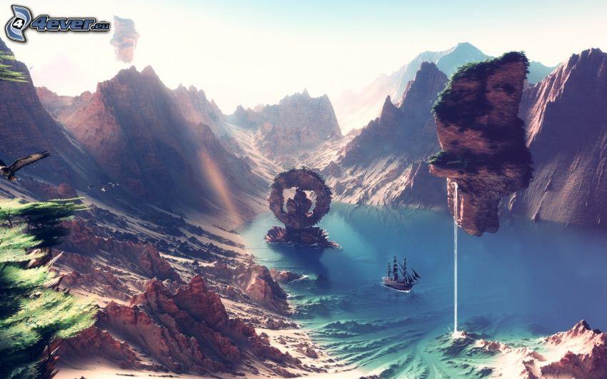 fantasy krajina, skalnaté hory, pleso, plachetnica, lietajúci ostrov
