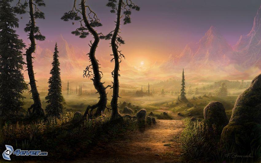 fantasy krajina, skalnaté hory, západ slnka za horami, cestička, suché stromy
