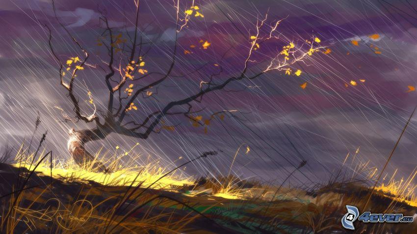 fantasy krajina, suchý strom, steblá trávy, vietor