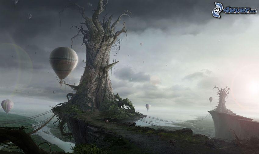 fantasy krajina, suchý strom, teplovzdušné balóny
