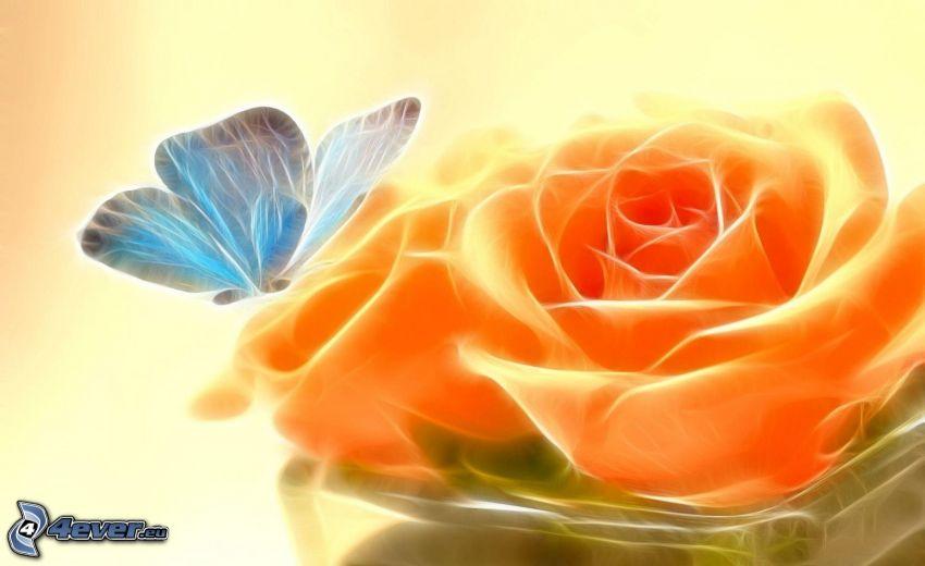 fraktálový motýľ, oranžové ruže, fraktál
