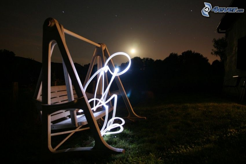 hojdačka, postavička, noc, mesiac, lightpainting