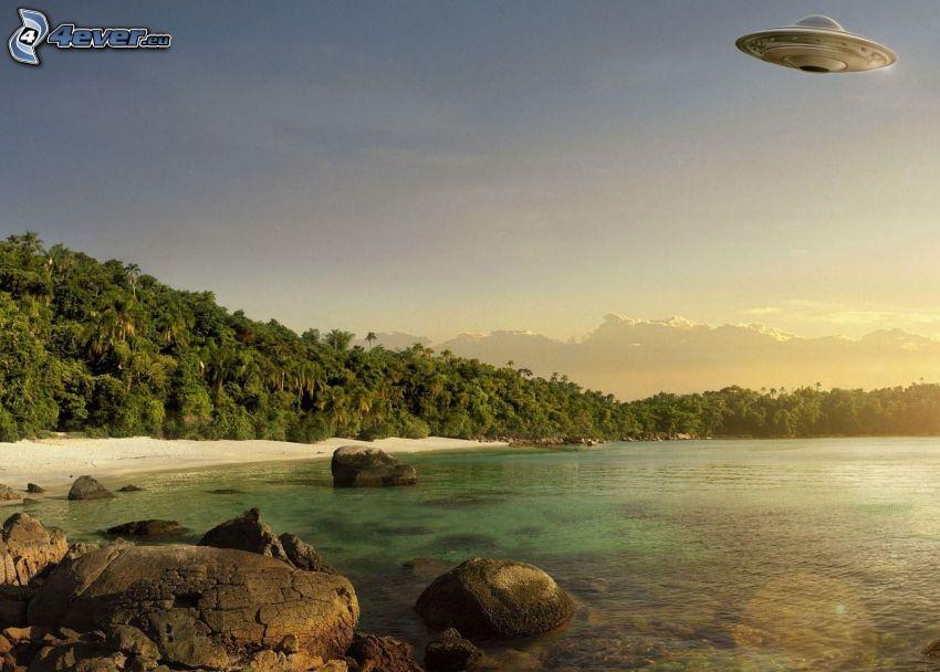 jazero, kamene, stromy, pláž, UFO