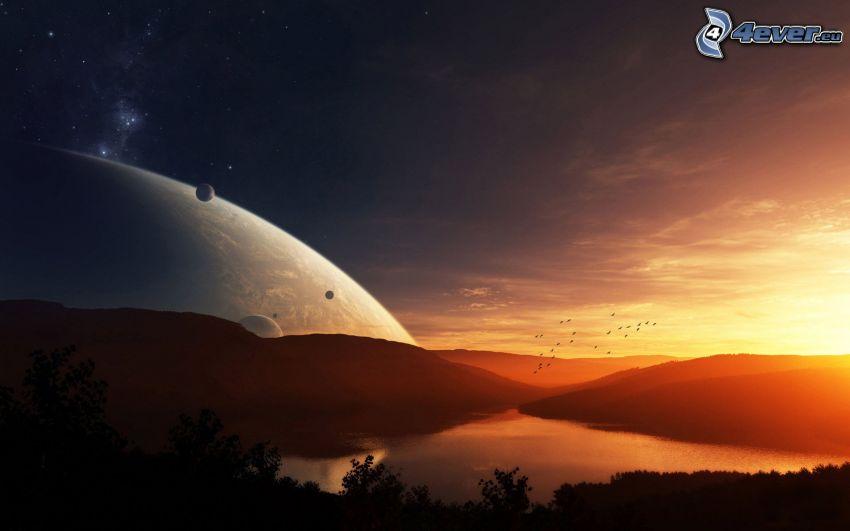 jazero, planéty, západ slnka