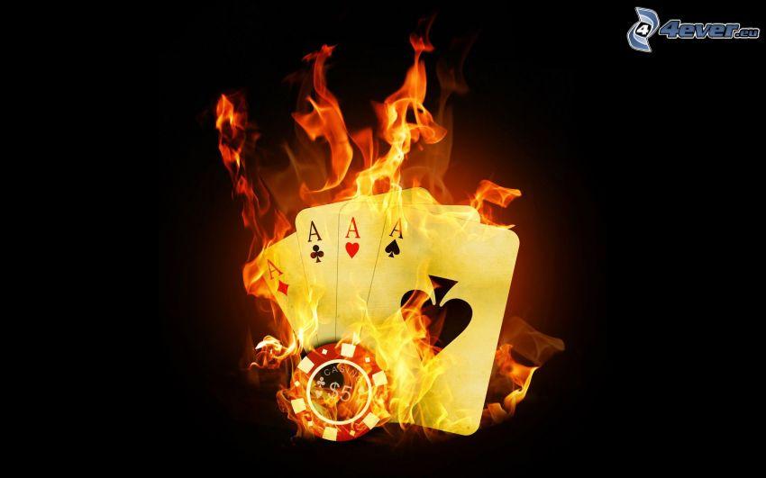 karty, esá, oheň