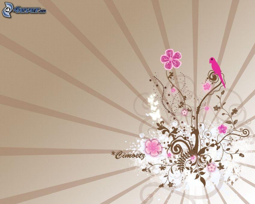 kreslené kvety, vtáčik