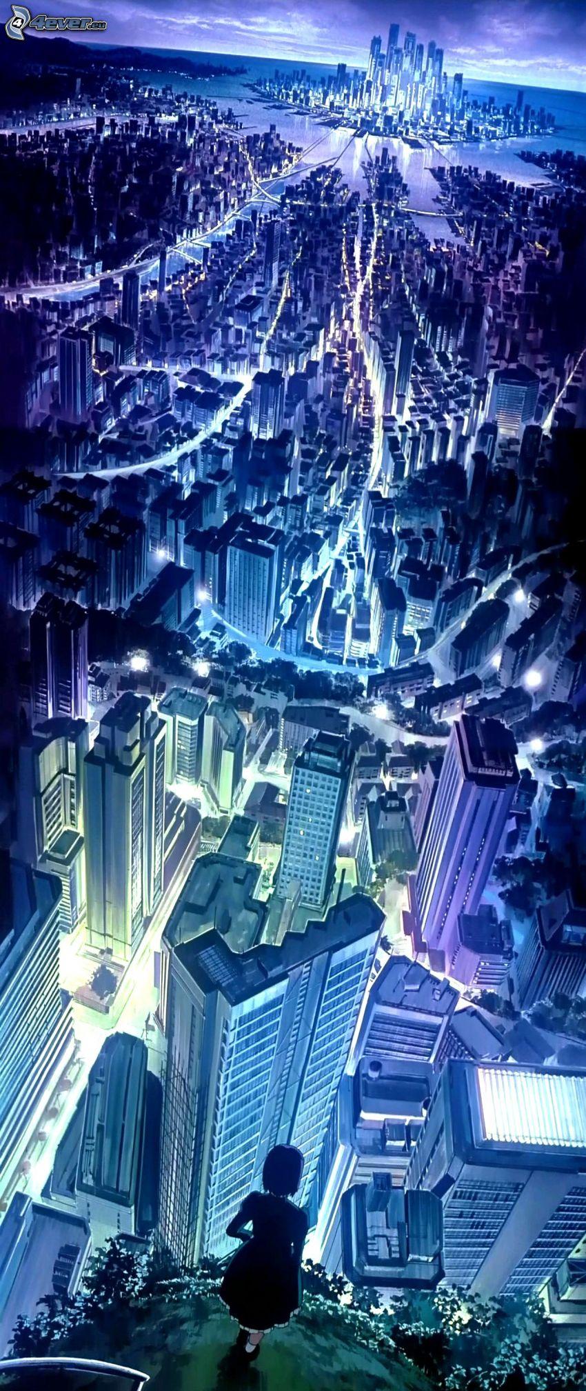 kreslené mesto, kreslené dievča, výhľad na mesto