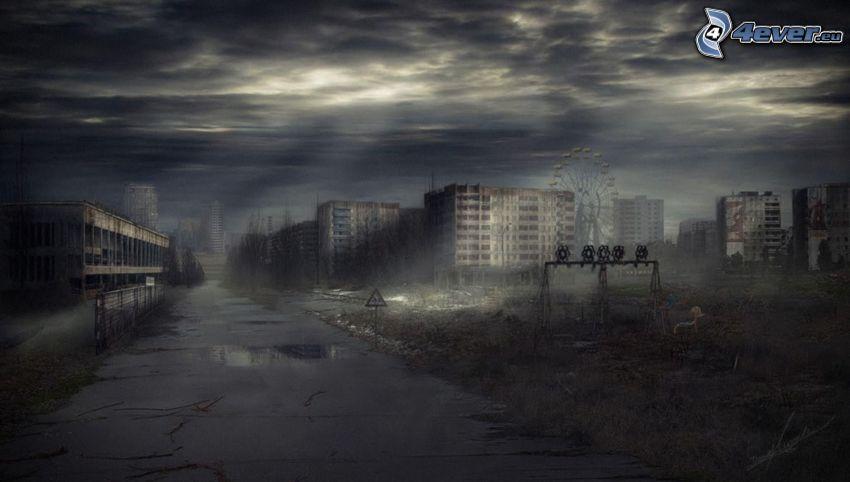 kreslené mesto, tma