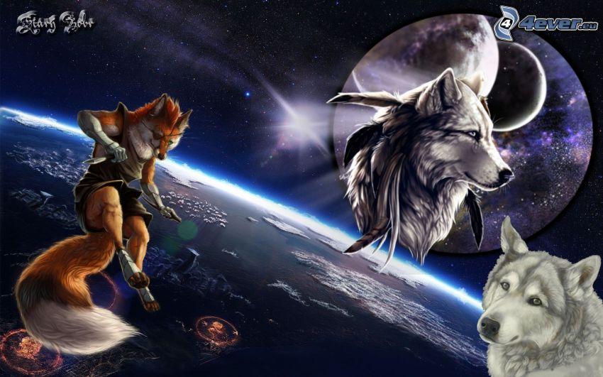 kreslené vlky, vesmír, planéta, hviezda