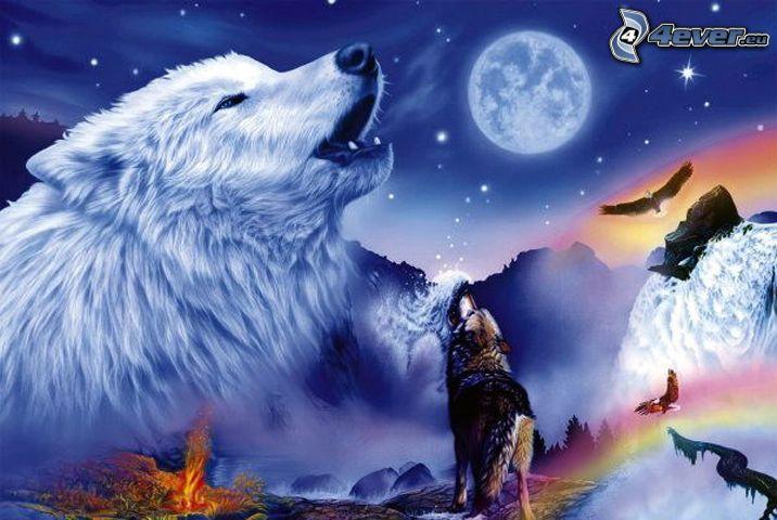 kreslený zavýjajúci vlk, mesiac, orol, koláž