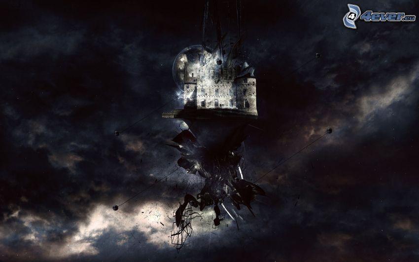 lietajúci ostrov, hrad