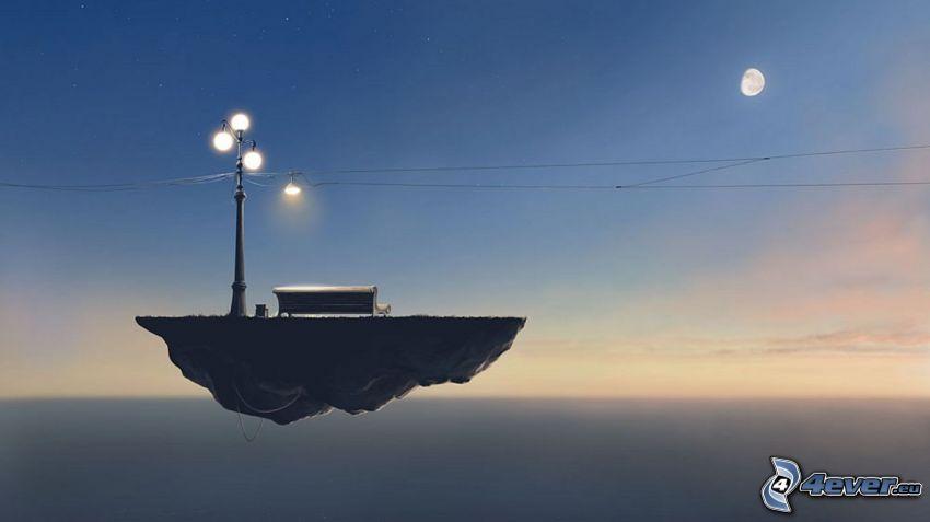 lietajúci ostrov, mesiac, pouličné osvetlenie, lavička