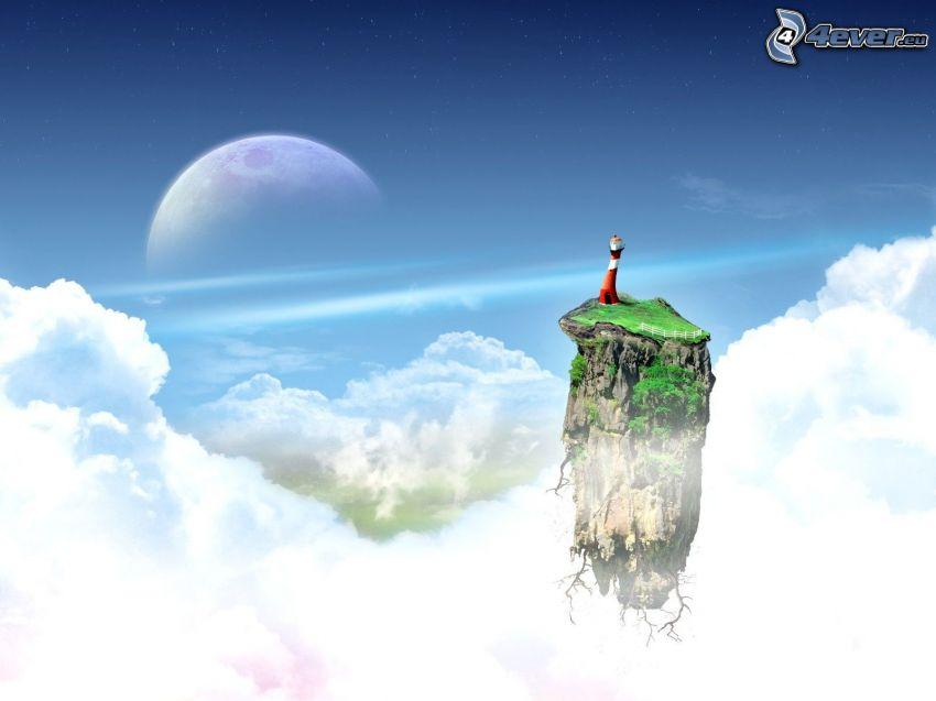 lietajúci ostrov, oblaky