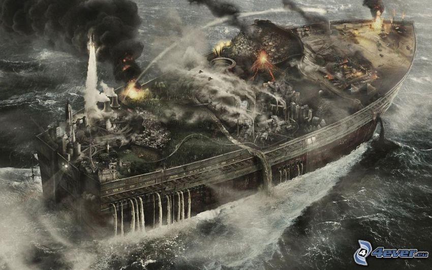 loď, more, dym