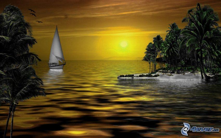 loďka na mori, západ slnka, ostrov