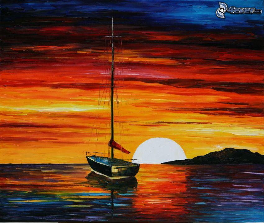 loďka na mori, západ slnka za morom, obraz, olejomaľba