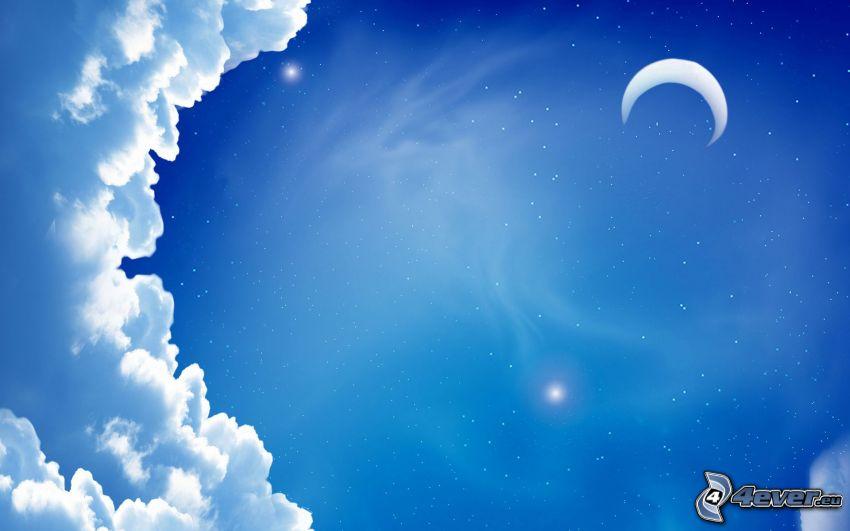 mesiac, modrá obloha, oblaky, hviezdy