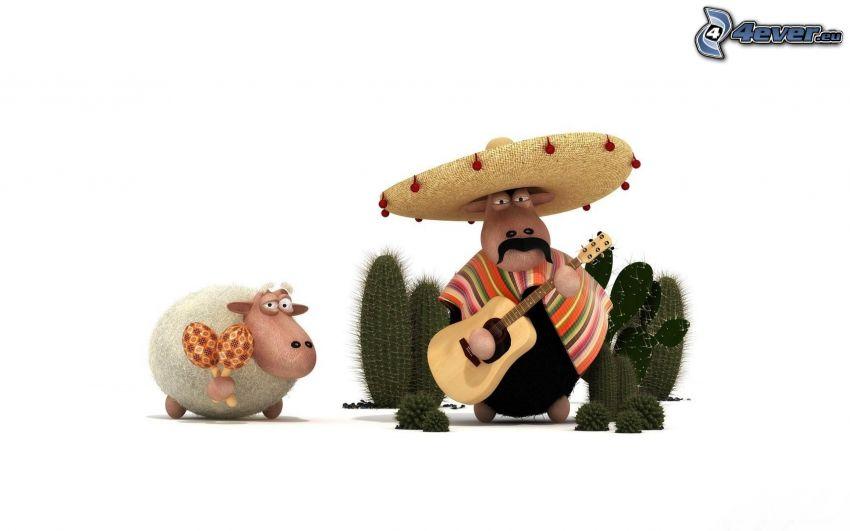 mexičan, ovečka, gitara, kaktusy