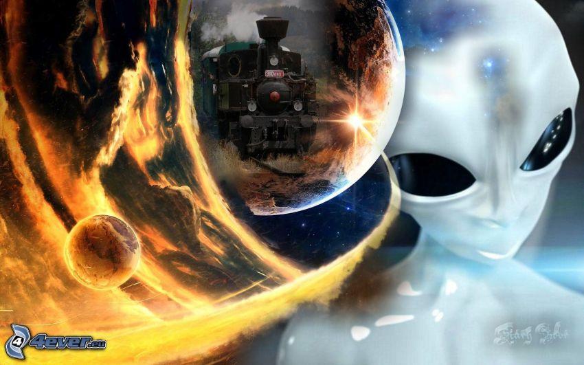 mimozemšťan, vlak, plamene