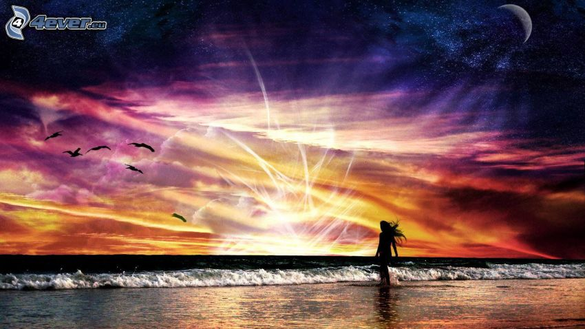 more, pláž, silueta ženy, farebná obloha
