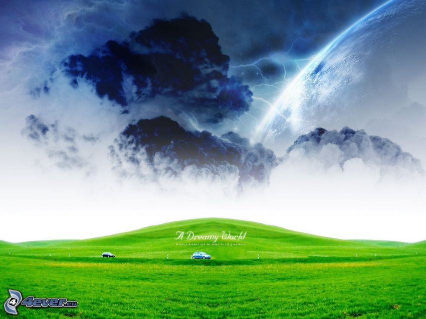 mraky, blesky, zelená lúka, autá, planéta