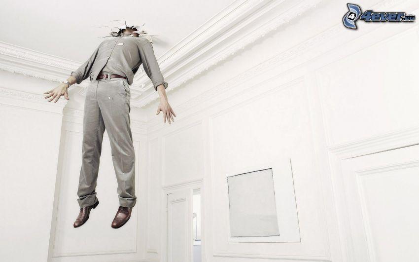 muž, diera, strop