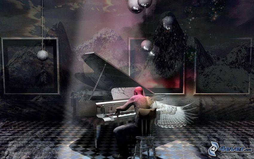 muž, klavír, krídlo, zasnežené hory