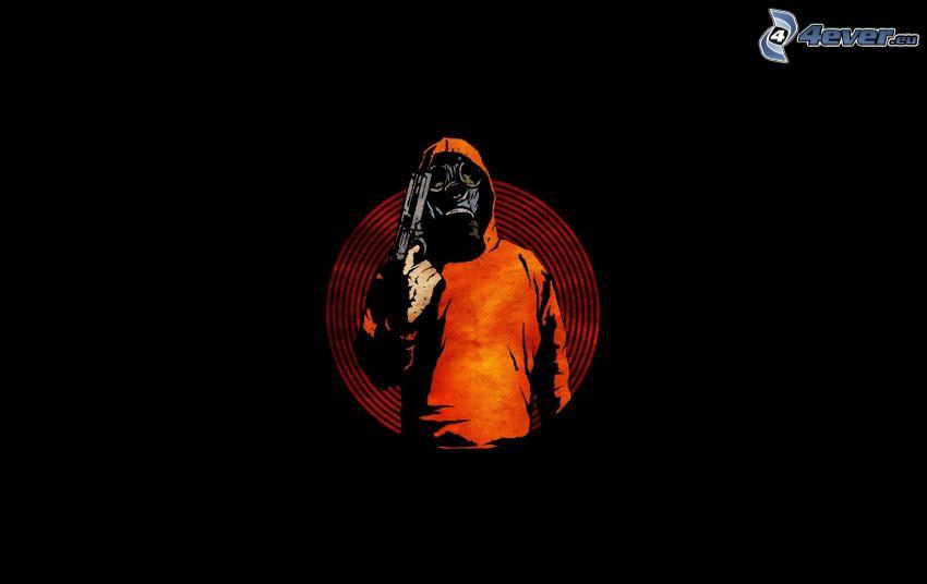 muž so zbraňou, človek v plynovej maske
