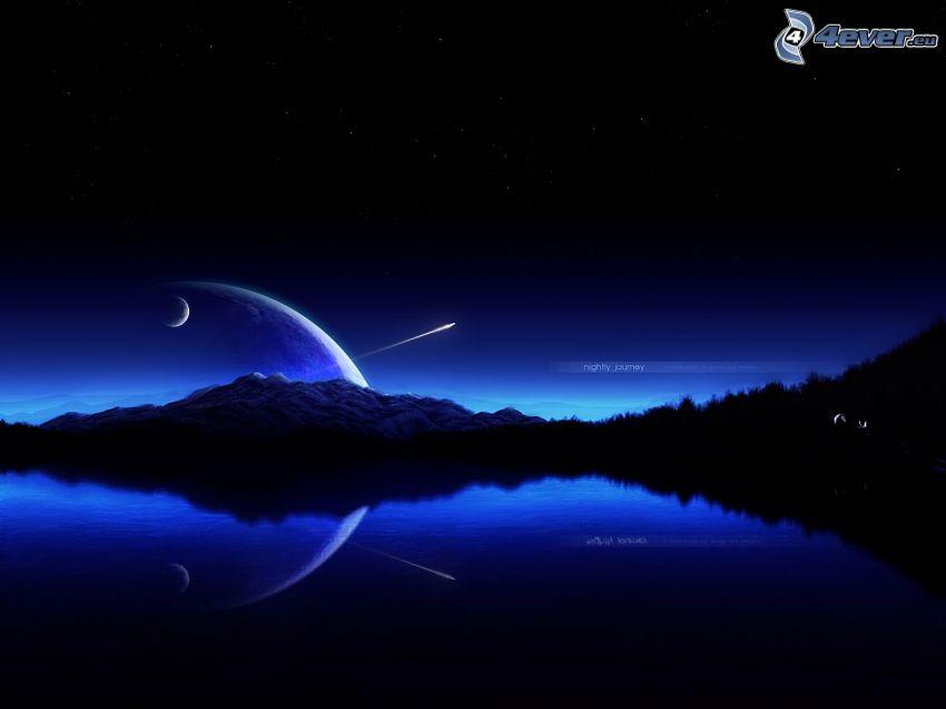 noc, jazero, mesiac, hviezdna obloha
