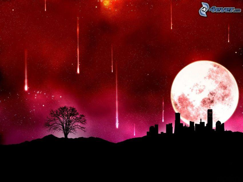 noc, mesiac, silueta stromu, padajúce hviezdy