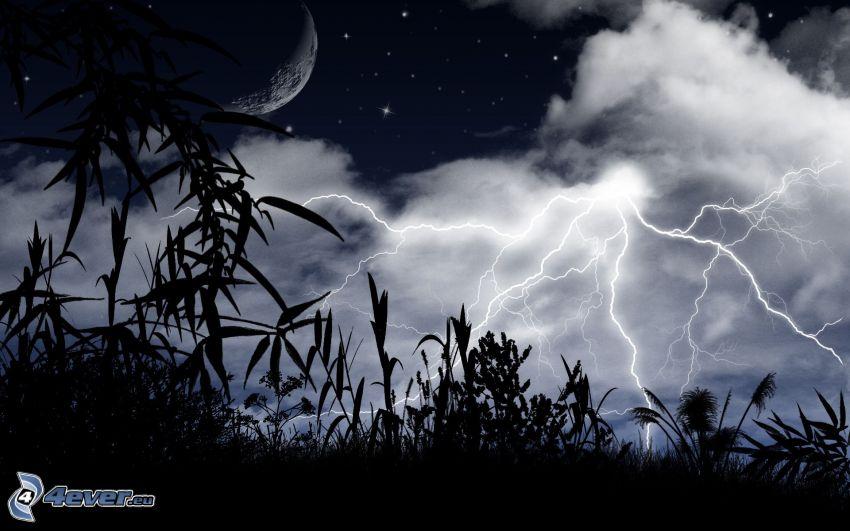 nočná obloha, blesky