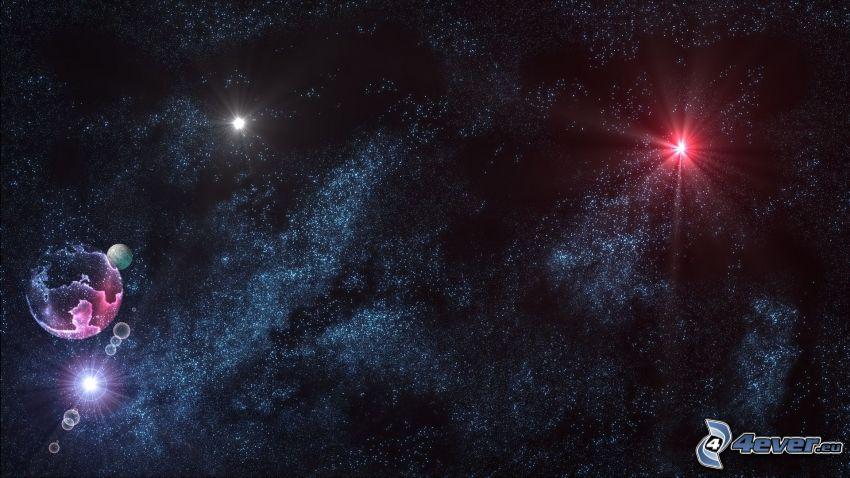 nočná obloha, hviezdy, planéty