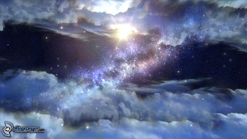 nočná obloha, oblaky, hviezdy