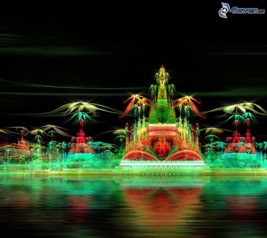 nočné mesto, svetelná hra