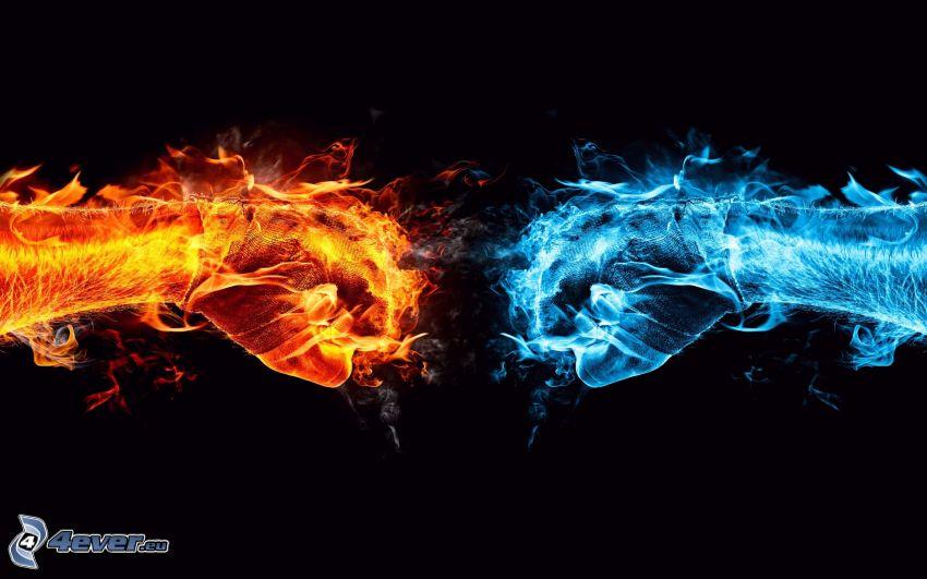 oheň a voda, ruky