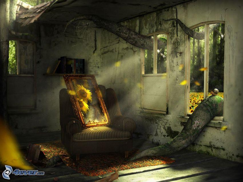opustená izba, neporiadok, kreslo