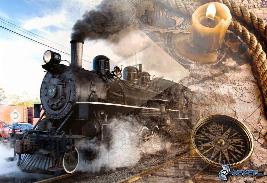 parná lokomotíva, mapa, kompas, lano, sviečka
