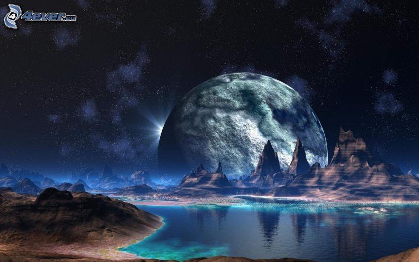 planéta, fantasy krajina, noc, hviezdna obloha