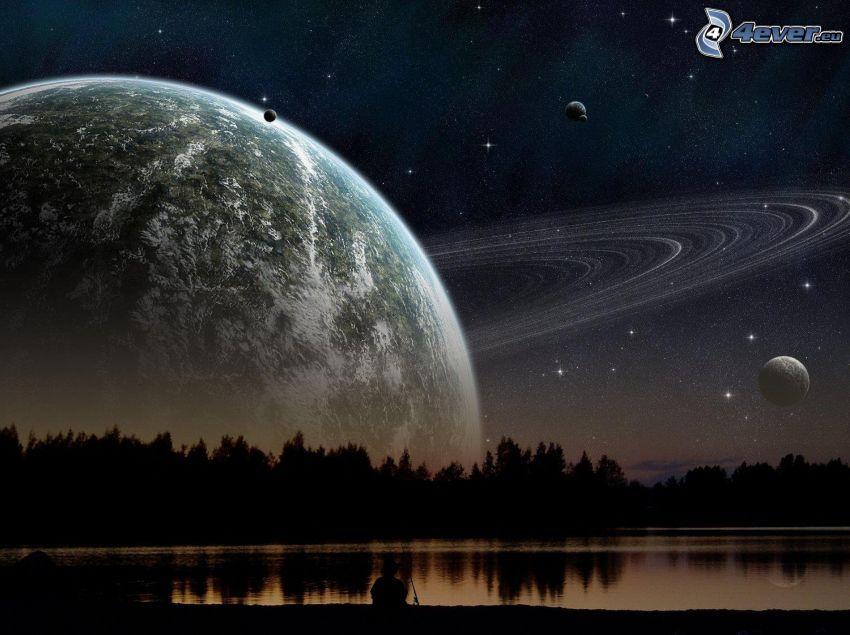 planéty, jazero