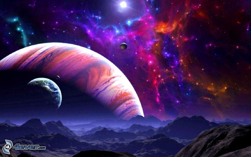 planéty, kopce